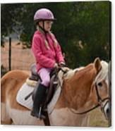 Cute Girl On Horse 2 Canvas Print
