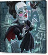 Cute Gothic Horror Vampire Woman Canvas Print