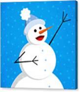Cute Happy Snowman Canvas Print