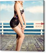 Cute Pinup Girl Looking Surprised On Beach Pier Canvas Print