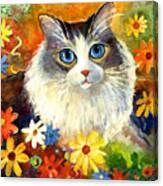 Cute Ragdoll Tubby Cat In Flowers Canvas Print