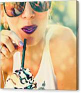 Cute Retro Girl Drinking Milkshake Canvas Print
