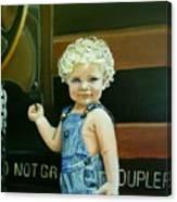 Cutie By The Train Canvas Print