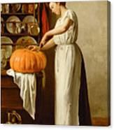 Cutting The Pumpkin Canvas Print