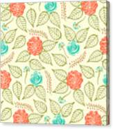 Cyan And Orange Floral Pattern Canvas Print