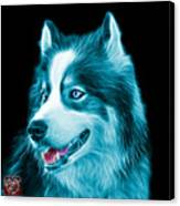 Cyan Modern Siberian Husky Dog Art - 6024 - Bb Canvas Print
