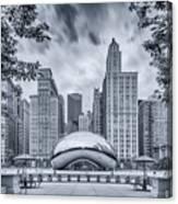 Cyanotype Anish Kapoor Cloud Gate The Bean At Millenium Park - Chicago Illinois Canvas Print