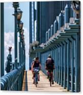 Cycling The Bridge Canvas Print