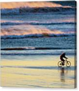 Cyclist Pedals Against The Wind At Pismo Beach Canvas Print