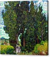 Cypresses With Two Figures, By Vincent Van Gogh, 1889-1890, Krol Canvas Print