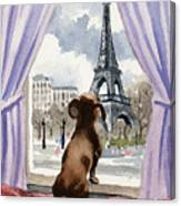 Dachshund In Paris Canvas Print