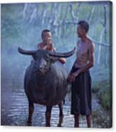 Dad And Child Happy To Live In The Countryside,thailand, Vietnam Canvas Print