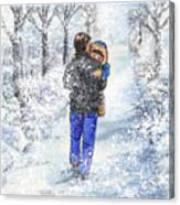 Dad And Child In The Winter Snow Canvas Print