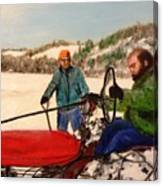 Dad And Denny In A Winter Field Canvas Print