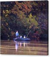 Dad And Sons Fishing Canvas Print