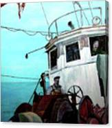 Dad In The Superior's Wheelhouse Canvas Print