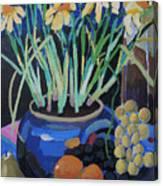 Daffodills And Fruit Canvas Print