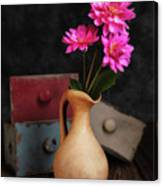 Dahlias And Drawers Canvas Print
