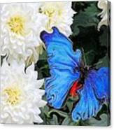 Dahlias And The Butterfly Canvas Print