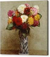 Dahlias In A Chinese Vase Canvas Print