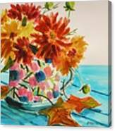Dahlias In A Painted Cup Canvas Print