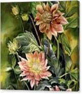 Dahlias In Autumn Canvas Print