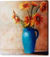Daisies And Blue Canvas Print
