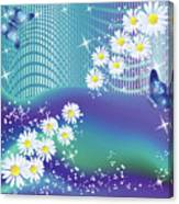 Daisies And Butterflies On Blue Background Canvas Print