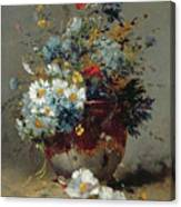 Daisies And Cornflowers Canvas Print