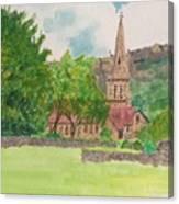Edale Church And Beautiful Landscape Canvas Print