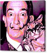 Dali With Ocelot And Cane Canvas Print