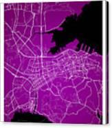 Dalian Street Map - Dalian China Road Map Art On A Purple Backgro Canvas Print