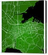Dalian Street Map - Dalian China Road Map Art On Green Backgro Canvas Print