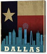 Dallas City Skyline State Flag Of Texas Art Poster Series 020 Canvas Print
