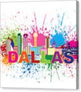 Dallas Skyline Paint Splatter Text Illustration Canvas Print