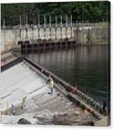 Dam Repairs  Along The Androscoggin River Canvas Print