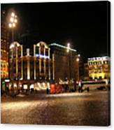 Dam Square Late Night - Amsterdam Canvas Print