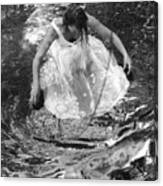 Dancer In White Dress In Shallow Water Canvas Print