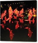 Dancing Goldfish Pond At Night Canvas Print
