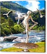 Dancing Statue Near The Waterfall Canvas Print