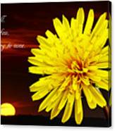 Dandelion Against Sunset With Inspirational Text Canvas Print