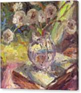 Dandelions Flowers In A Vase Sunny Still Life Painting Canvas Print
