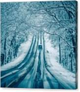 Dangerous Slippery And Icy Road Conditions Canvas Print