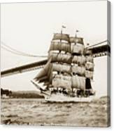 Danmark Sailing Under The Golden Gate Bridge San Francisco Canvas Print