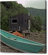 Dark Harbour Fisherman Shack And Boat Canvas Print