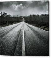 Dark Stormy Road To Cradle Mountain In Tasmania Canvas Print