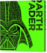 Darth Vader - Star Wars Art - Green Canvas Print