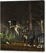 Daspletosaurus Confronts A Family Canvas Print