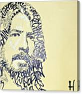 Dave Grohl Word Portrait With The Word Kurt Cobain Canvas Print