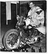 Dave On A Harley Tulare Raiders Mc Hollister Calif. July 4 1947 Canvas Print